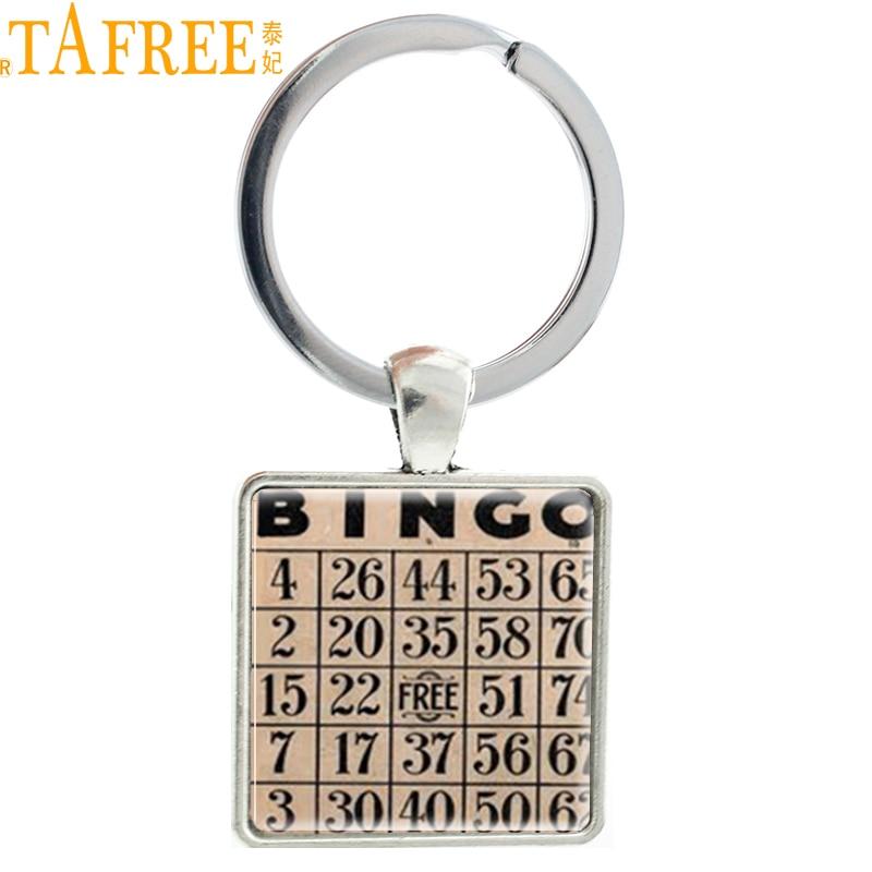 TAFREE Vintage fashion Bingo game Card picture pendant keychain pop Europe Wine Drinking game key chain ring holder jewelry AA67(China)