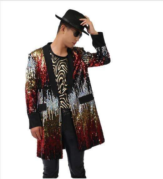 Plus size Stylish Male singer DJ  colorful Long Sequins Coat Jackets Stage show singer dancer the host show performance wear