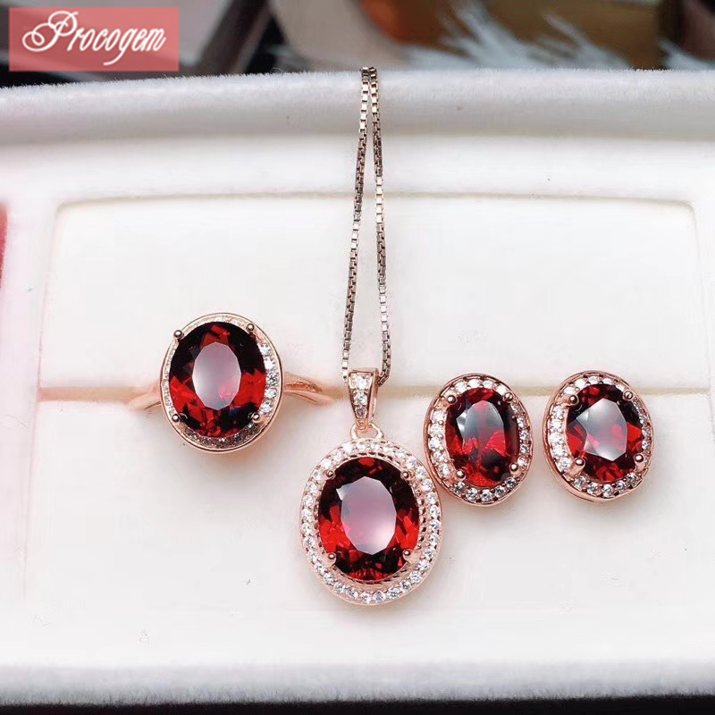 Natural Garnet jewelry sets for women girls Cuted Oval Genuine Gemstones with zircon Necklace Ring Earrings S925 silver #188Natural Garnet jewelry sets for women girls Cuted Oval Genuine Gemstones with zircon Necklace Ring Earrings S925 silver #188