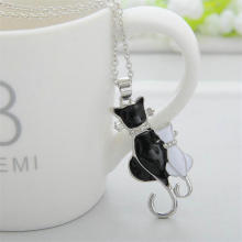 Silver Plated Black Cat Necklace
