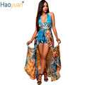 HAOYUAN Women Casual Summer Beach Maxi Dress Vestido Vintage Printed Backless Off Shoulder Chiffon Dress Sexy Bohemian Dress