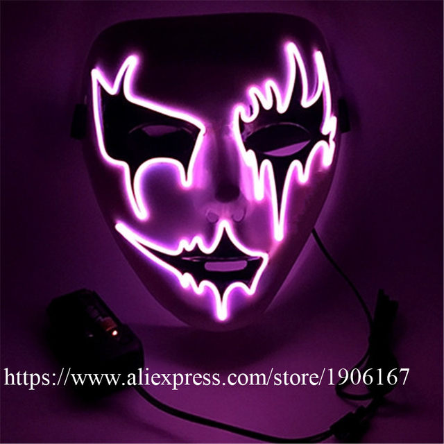 Online Shop New Design New Year Flashing El Wire Mask Led Glowing ...