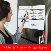 A3 30*40cm Magnetic Calendar Fridge Magnets Dry Erase Board To Do List Weekly Daily Planner Organizer with pen Erase