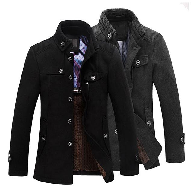 2016 Casacos de Inverno Para Homens Stand-up Gola do Casaco de Lã dos homens casacos de Médio Longo Jaquetas E Casacos Dos Homens Casaco de Lã Quente MC347