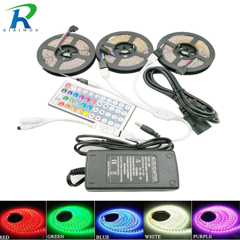 RiRi vandt 5050 RGB LED Strip lys 30LEDS 5m 10m 15m fleksibel Leds Diode led Tape SMD 44 nøgler IR controller 12V Power Adapter sæt