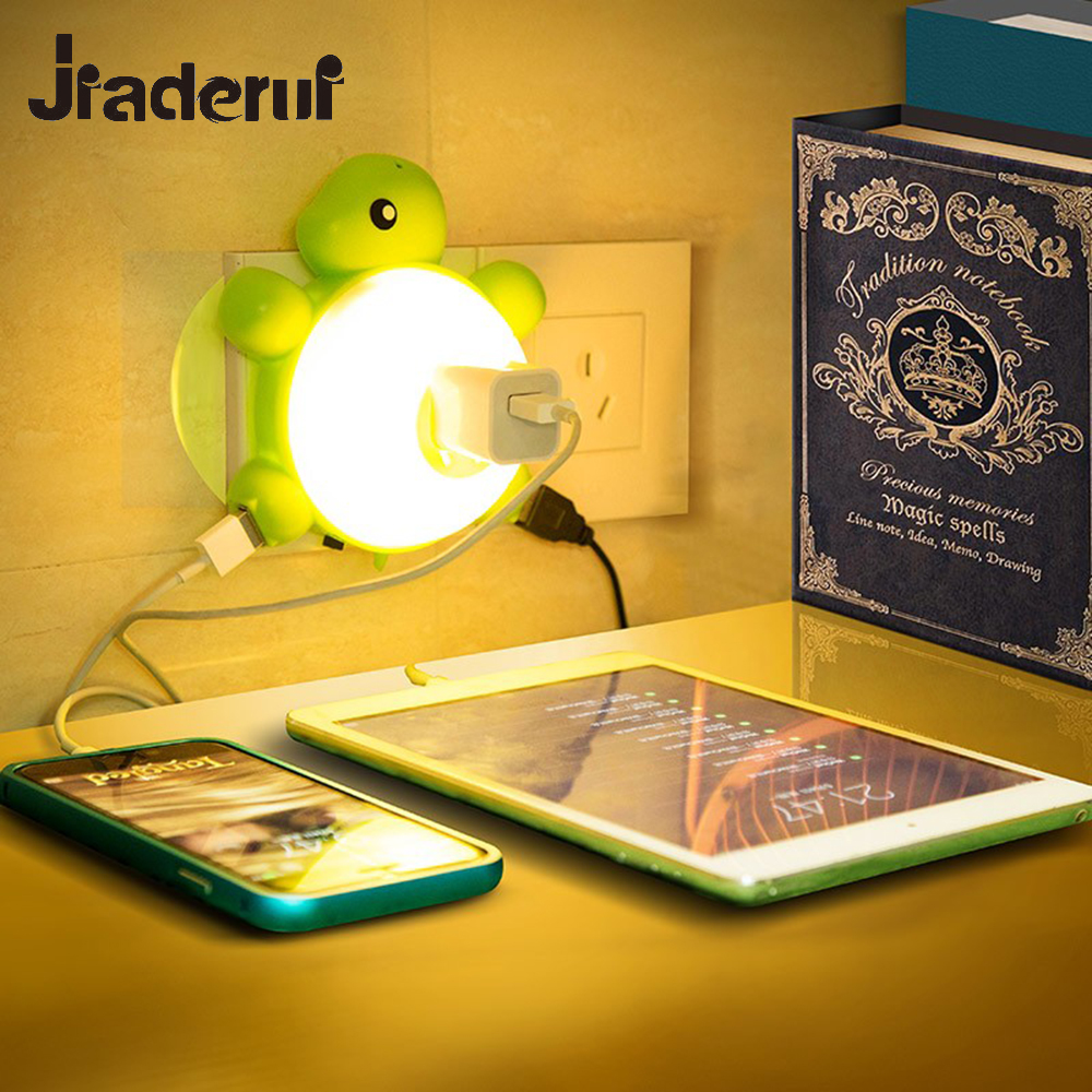Jiaderui Cute LED Turtle Night Light Automatic Sensor Control Lamp for Baby Kids Smart Socket Night Lights Bedroom Bedside Lamps