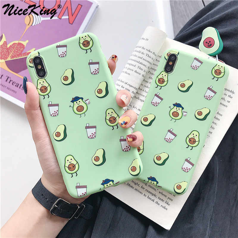 Funda de teléfono Niceking verano frutas aguacate para iPhone XS Max XR X dibujos animados Tom y Jerry suave TPU para iPhone 6 iPhone 6 6S 7 7 Plus