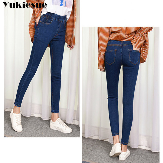 2019 Spring Summer Plus Size 5xl high Elastic Waist Stretch Ankle length push up mom Jeans for Women Skinny Pants Capris Jeans 4