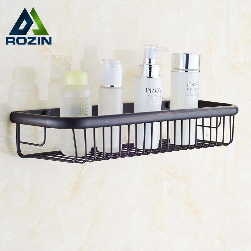 Free Shipping Wall Mounted Square Brass Bathroom Storage Shelf Oil Rubbed Bronze Cosmetics Basket Holder free shipping golden wall mounted bathroom corner shelf solid brass storage rack basket