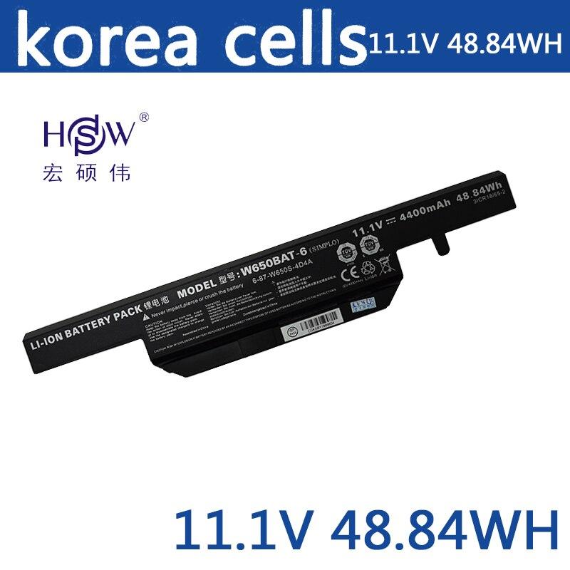 HSW 11.1 v 4400 mah 48.84Wh W650BAT-6 batterie pour K610C K650D K570N K710C K590C K750D bateria akku