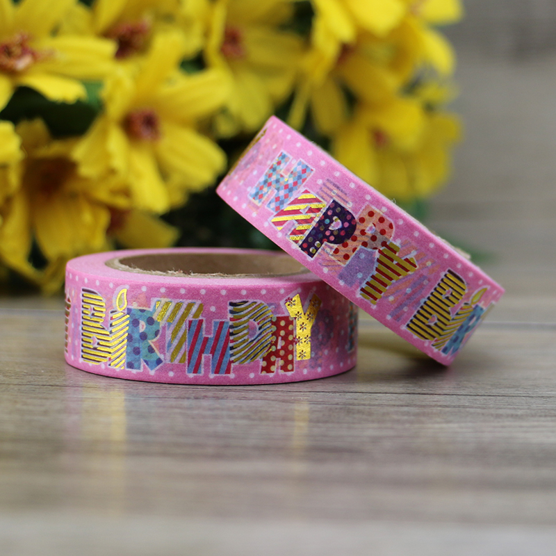 10m Pink Foil Washi Tape Paper Happy Birthday Japanese Stationery Kawaii Sticker Scrapbooking Tools Masking Tape Diy Photo Album