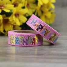 10m Pink Foil Washi Tape Paper Happy Birthday Japanese Stationery Kawaii Sticker Scrapbooking Tools Masking Tape Diy Photo Album