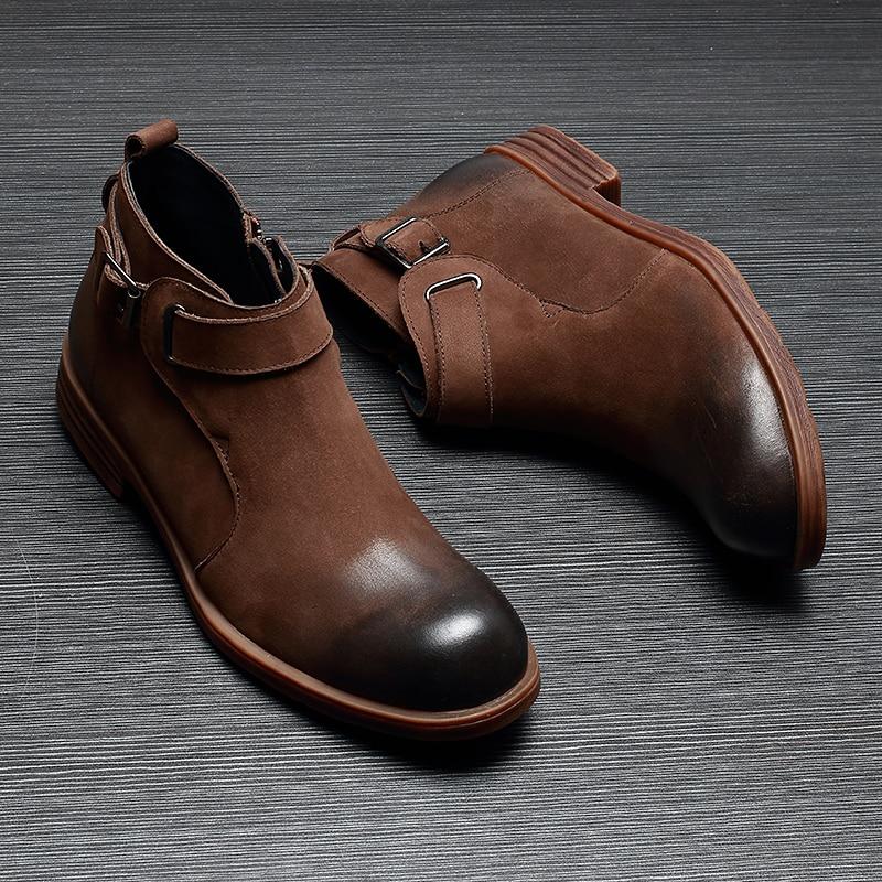 Chelsea Del Todo Hombre Altos brown Negro Botas Genuino fósforo Para Hombres Vaquero De Vaca Vestido Zapatos Cuero Invierno Los Otoño xqCwv80PC