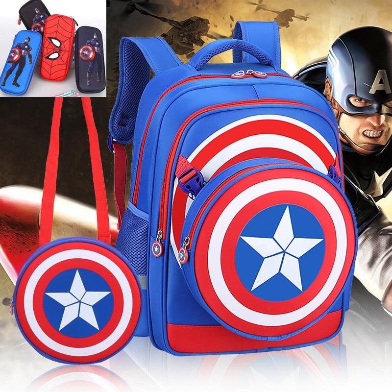 2458afaa5f9d8 الاطفال الفتيان الابتدائية حقيبة المدرسة 3D درع الكابتن الأمريكية الكرتون  الأطفال طالب الظهر Daypack حقيبة Mochila حقيبة