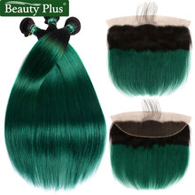 hot deal buy ombre bundles with closure beauty plus non remy pre colored 2 tone green human hair straight weaves and ear to ear lace frontals
