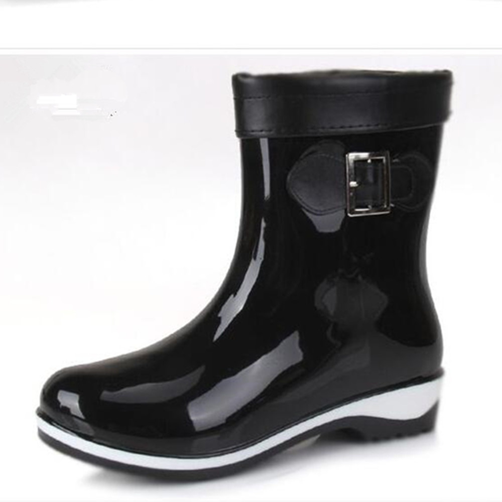 Fashion Women Rainboots Rubber PVC Mid-Calf Black Round Toe Waterproof Shoes With Fleece Lining Bow-Tie Rain Shoe Willow рюкзак case logic 17 3 prevailer black prev217blk mid