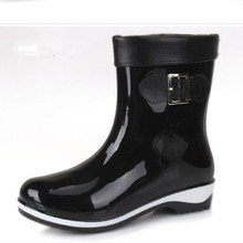 Willow Valley Women Rainboots Rubber PVC Mid-Calf Brown Rainboots Slip-On Bowtie Waterproof Boots Fashion Round Toe Red Shoes