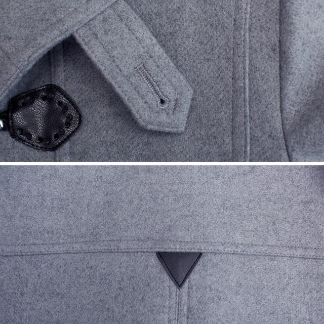 S-6XL 2016 Autumn Winter Men Wool Jackets Single Button Hooded Coats Long Warm Overcoats Male Clothing Light Gray Black Navy