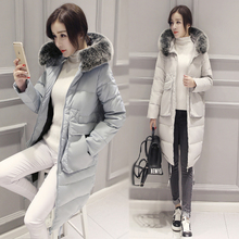 2016 new winter thick warm coat jacket fashion Ms. Black was thin white duck down jacket and long sections knees tide coat
