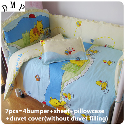 Promotion! 6/7PCS Baby Infant Baby Bedding Set Crib Sheets ,120*60/120*70cm