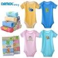 2015 DANROL Bebé Recién Nacido body de manga Corta Niño niños niñas ropa de Bebé 0-24 M Mono de una pieza 5 unids/lote