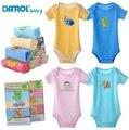 2015 DANROL Bebê Recém-nascido de manga Curta bodysuit Da Criança das meninas dos meninos roupas de Bebê infantil 0-24 M Macacão de uma peça 5 pçs/lote