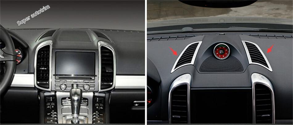 Accessoires pour Porsche Cayenne 2015 2016 2017 tableau de bord en métal ventilation supérieure couvercle de sortie garniture 2 pièces/ensemble