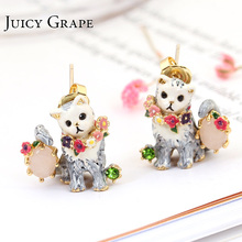 New Arrivals Pets Series Enamel Floret The Cat stud earrings 925 silver needle Women Jewelry Free Shipping Surgical earrings