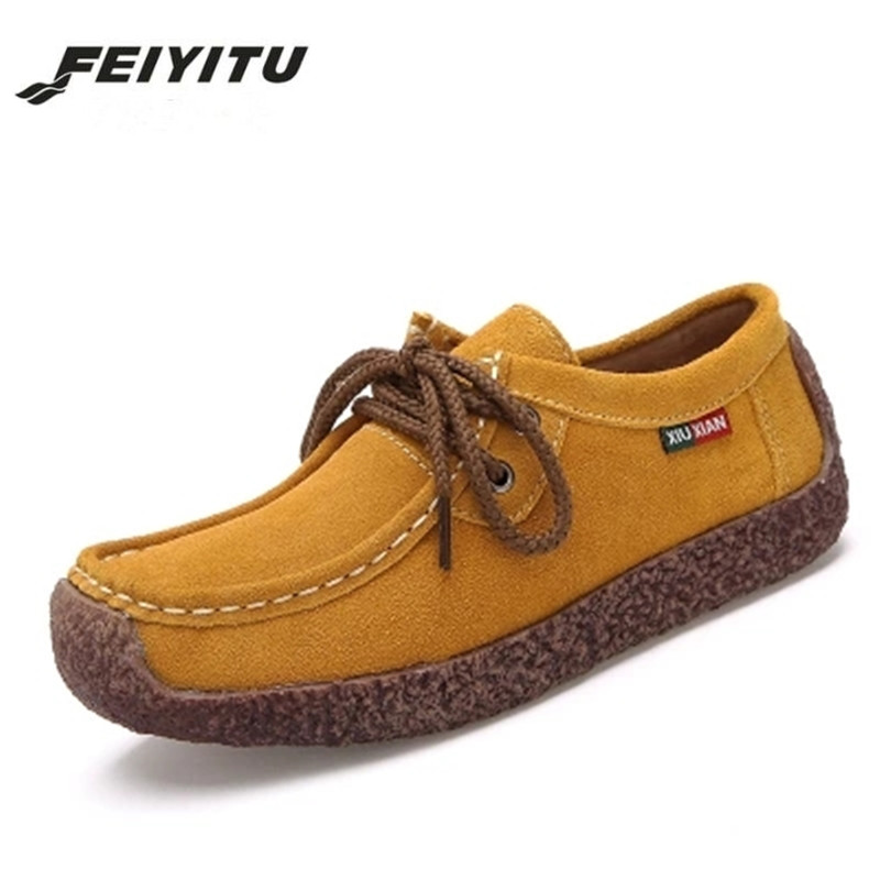 Feiyitu 2018 Spring Women's Vulcanize Shoes Genuine   Leather   Woman Shoes Woman Hand-sewn   Suede     Leather   Shoes Fashion Casual Shoes