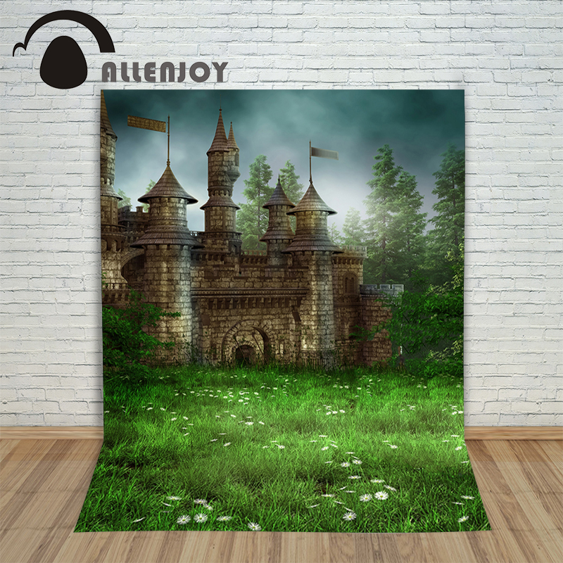 Allenjoy Vinyl photo studio Background The castle grassland fairyland blurring backdrop picture children's photocall love of the grassland 600g