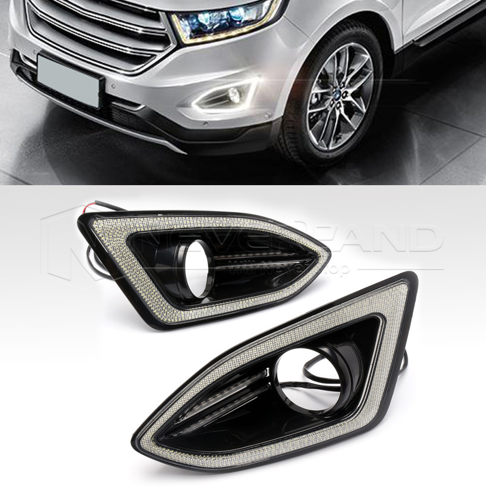 High Quality Led Daytime Running Light For Ford Edge V Drl Fog Lamp Cover Turn Signal Yellow D In Car Light Assembly From Automobiles