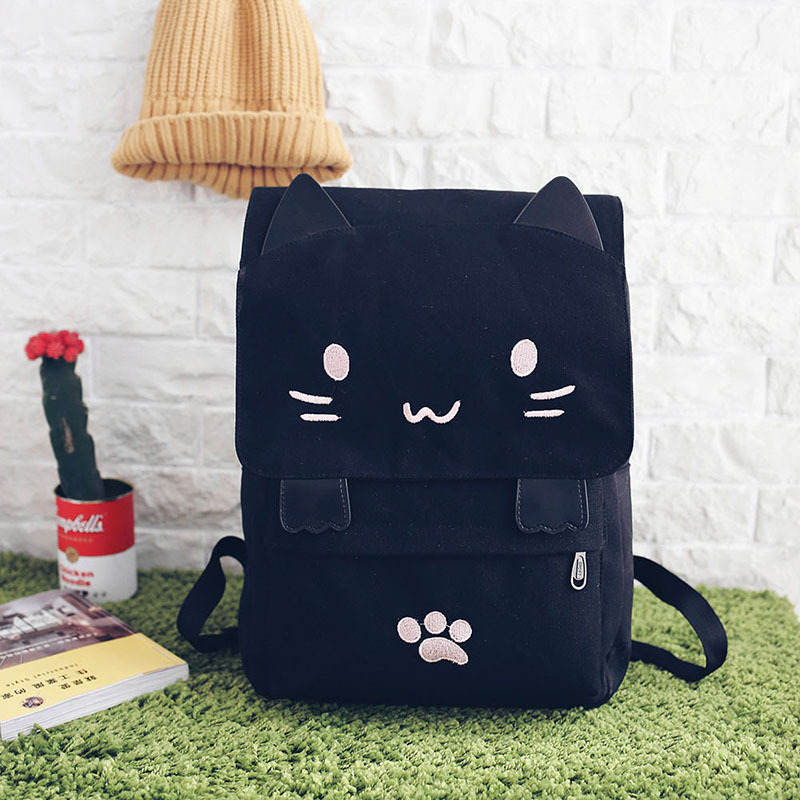 HTB1IR2hSXXXXXabXpXXq6xXFXXXb - Women Cute Cat Backpack Canvas Kawaii Backpacks School Bag for Student Teenagers Lovely Rucksack Cartoon Bookbags Mochilas