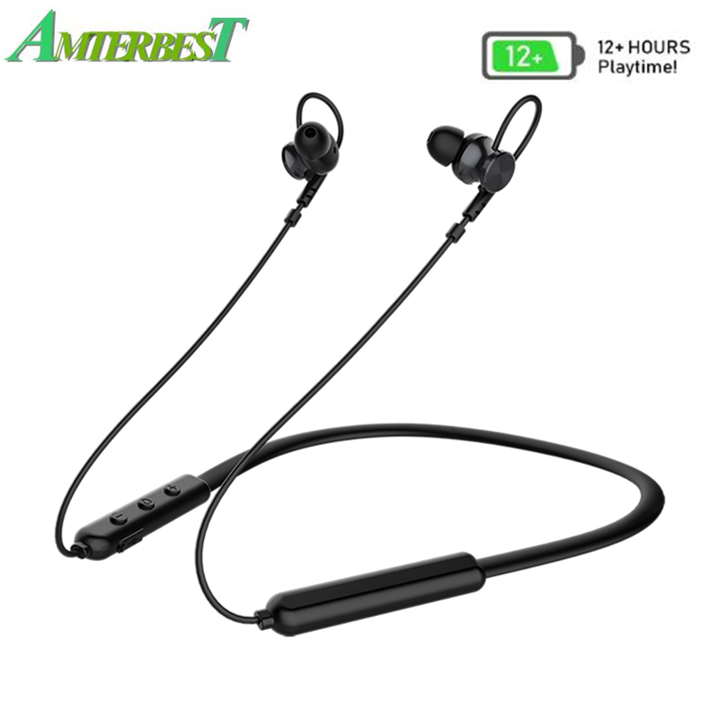 AMTERBEST Bluetooth 5.0 Headphones Wireless Earbuds Sport Magnetic In-Ear Earphones with Mic Playback Neckband Stereo Headset