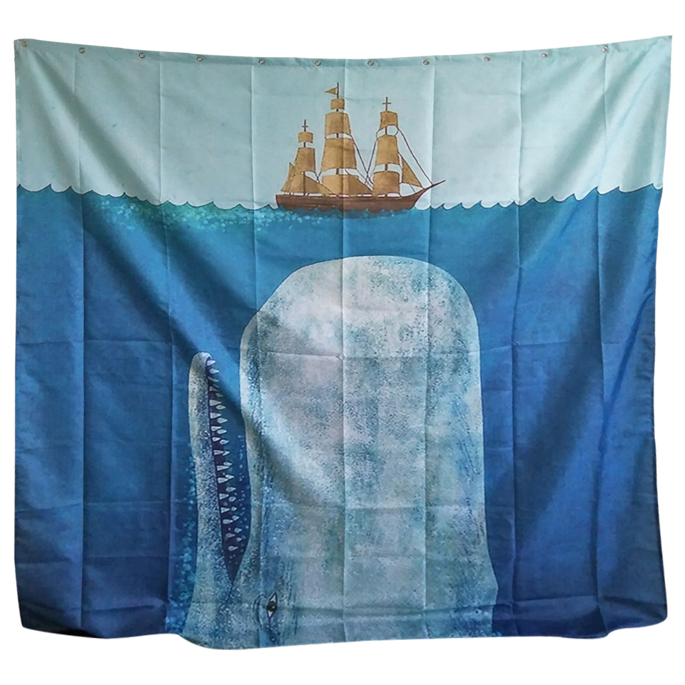 Papa&Mima sailboat Printed Waterproof Shower Curtains Polyester Bathroom Curtains With Hooks 180x180cm Decorative Bathtub