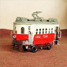 New Handmade Antique Style Iron Tram Model Retro Metal Bus Home Decoration Crafts