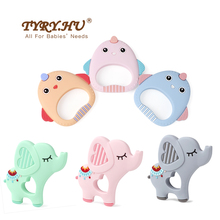 1pcs Cartoon Baby Silicone Teething Teethers Toy Elephant Chick Teether Beads Food Grade Silicone Teether Pacifier