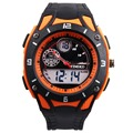 Time100 Youth Outdoor Sport Watch  Dual Time Orange Rubber Strap Electronic Quartz Student Wrist Watches For Men  W40073M.04A