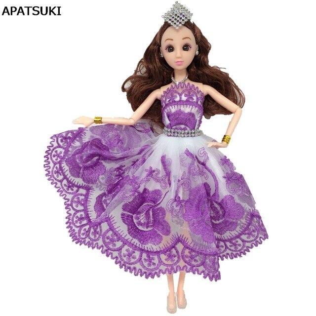 Ungu Kasa Menari Kostum Gaun Untuk Barbie Boneka Renda Gaun One-piece 1 6 4931df5be4