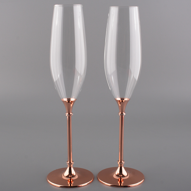 2019 new design 200ml champagne wine glass with rose gold stem