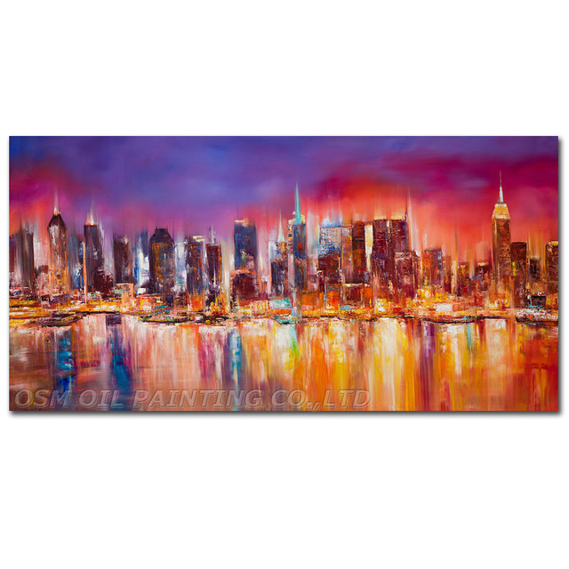 Large Framed Wall Art New York City Landscape Sunset: Hand Painted Landscapes New York City Skyline Living Room