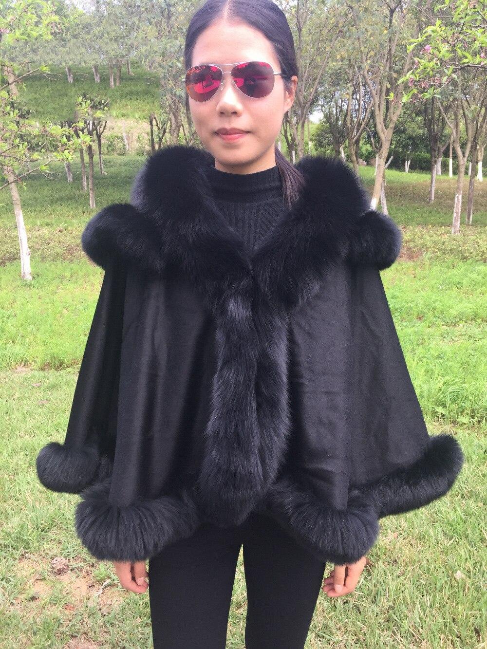 Brun Pashmina châle en cachemire Wrap Poncho Manteau Pashmina Châles avec Fourrure Pashmina écharpe en laine Renard col de fourrure Poncho À Capuche