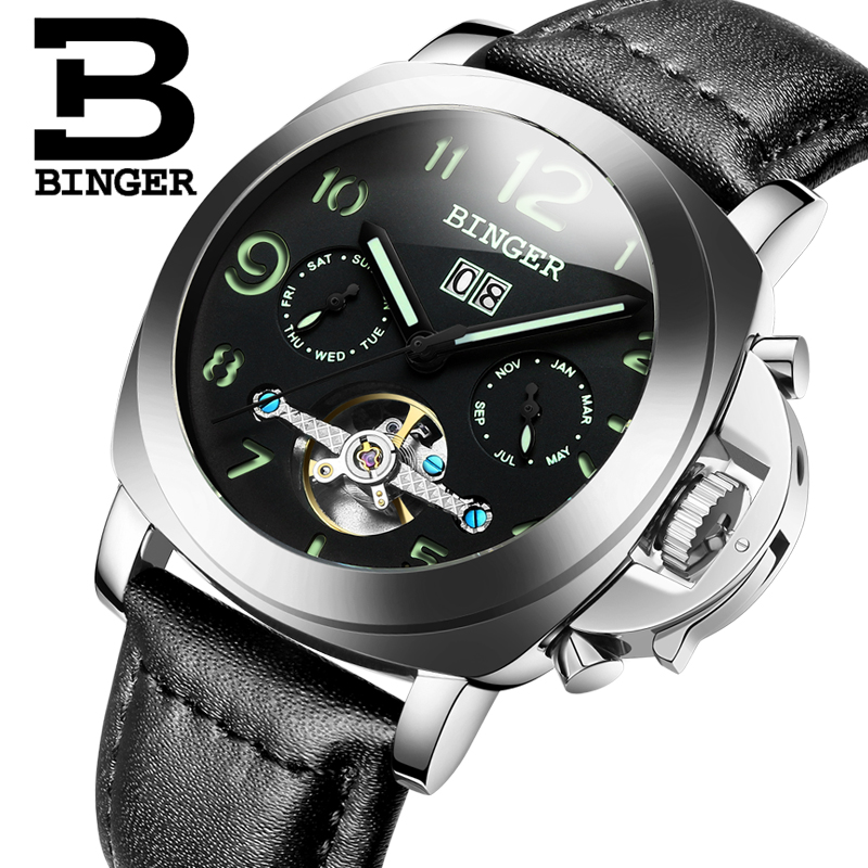 Genuine Switzerland BINGER Brand Men automatic mechanical luminous waterproof sports Chronograph calendar military watch genuine switzerland binger brand men automatic mechanical luminous calendar waterproof sports chronograph military gold watch