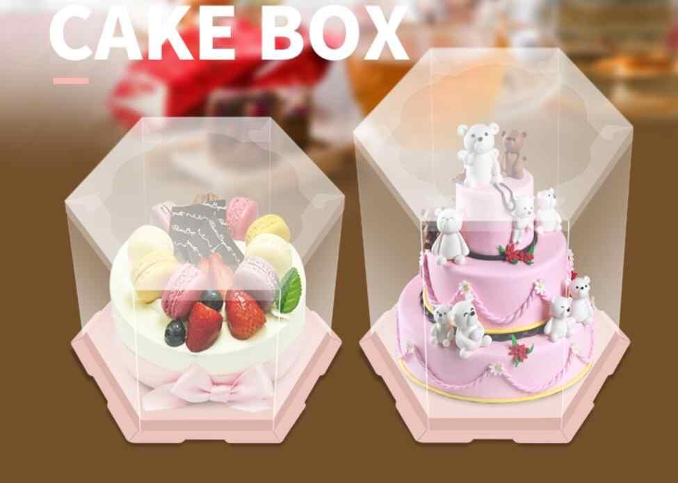 Tremendous 5Set 6 8 10 12 Inch Clear Hexagon Baking Cake Holder Boxes Funny Birthday Cards Online Inifofree Goldxyz