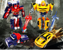 Cool Robot Car Transformation Toys Kids Bumblebee / Optimus prime Toy Robot Action Figure Mobel Christmas Gift For Children