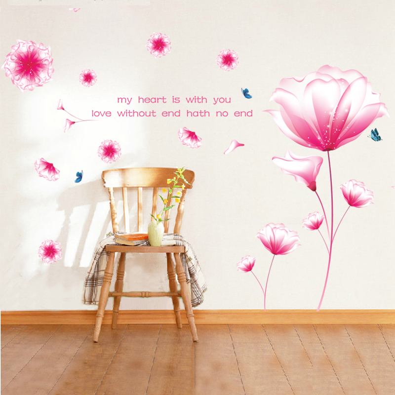90x150cm Fantasy Pink Flower Wall Stickers Wedding Room Living Room Entrance Bedroom Sofa Tv Background Wall Sticker Flower Wall Sticker Wall Stickerstickers Wall Stickers Aliexpress