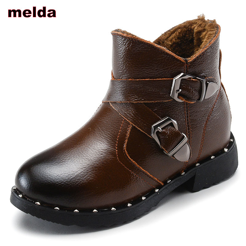 26-37 2017 New Winter Fashion Boys Girls Boots Children Shoes Genuine Leather Kids Martin Boots Girls Fashion Children Snow Boot 2017 new children