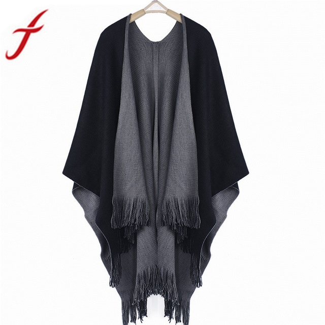 Feitong 2018 Winter Women Loose Overwear Coat Oversized Knitted Cashmere Poncho Capes Duplex Shawl Cardigans Sweater With Tassel