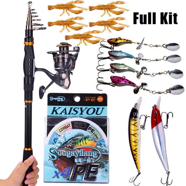 Sougayilang Fishing Rod Reel Combos Carbon Telescopic Fishing Pole with Fishing Reel Line Lures Combo Sea Fishing Rod Kit