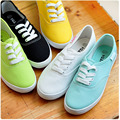 2017 white women Vulcanize canvas shoes low breathable female solid color flat shoes casual candy colors leisure cloth shoes