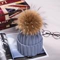 15 cm Pom Poms Bola Real del Mapache Sombrero de Invierno Para Las Mujeres Chica Sombreros de Lana Gruesa Femenina de Punto las Gorritas Tejidas de Algodón Cap